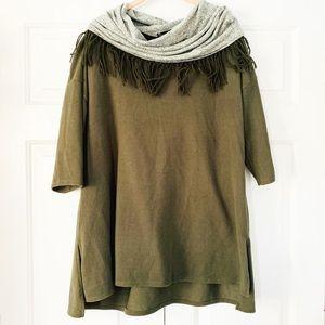 French Laundry Olive Cowl Neck Sweater Tunic Sz 1X